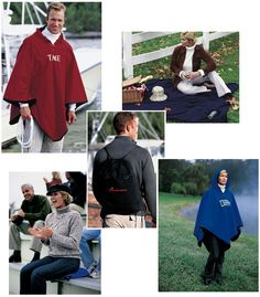 During sports or any season this 4 in 1 combo does it all! This poncho/blanket/seatcushion/backpack is made from an anti-pilling fleece with water-resistant, ripstop nylon on reverse side. Details like an adjustable hood with brass snaps, an outside compartment on tote for holding loose items, and adjustable shoulder straps make this unique product highly functional.