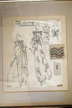 Buttons on a Bill Gibb dress Vintage Fashion Sketches, Fashion Design Sketches, Fashion Drawings, Fashion Vintage, Fashion Illustrations, Flat Drawings, Japanese Illustration, Fashion Figures, Fashion Sketchbook