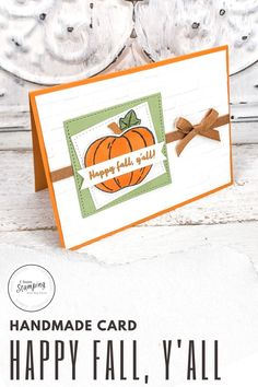 Today I have some super cute and easy Stampin' Up! Autumn cards for you to make. Come see these adorable Happy Fall cards that speak my language - and maybe yours, too, y'all! How To Make Banners, Autumn Cards, Punch Out, Quick Cards, Let Them Talk, Free Paper, Happy Fall, Embossing Folder, Greeting Cards Handmade