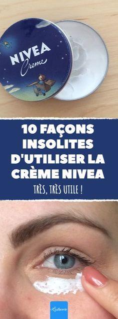 La célèbre crème Nivea peut servir pour bien des choses et cette liste en est la preuve. #creme #Nivea #lastucerie #astuce #astuces #pratique #sante #peau #seche #antiage #vergetures #cernes #demaquillant #coudes #mains #dermatites #brulures #coupdesoleil