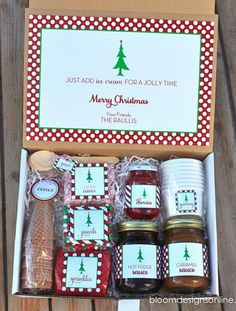 Homemade Christmas Sundaes Kit Gift Basket.