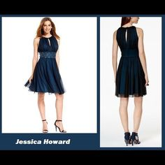 """JESSICA HOWARD Black/Teal Chiffon Beaded Dress 12 Ships 1-7-16! Jessica Howard's pretty party dress looks glamorous with an iridescent fabric and a beaded waistband. Elegant pleating creates movement and drama. •High neckline, Hidden back zipper with keyhole button and tie closure, Sleeveless, Cups at bust, Keyhole at front neckline; pleats at bodice, Empire Waistband with beaded detail across front, A-line, Lined with Teal """"under dress"""" w/ black chiffon """"over dress"""", Polyester. Bust across…"""