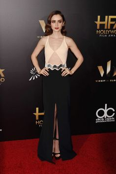 Lily Collins looked stunning on the red carpet at the Hollywood Film Awards.