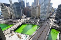 """""""Chicago Green River"""" photo from Jeff Lewis. For St. Patrick's Day, Chicago's main waterway turns bright green from the annual dye-adding tradition on March 15, 2014, which precedes the city's holiday parade. by Flickr, via Flickr"""