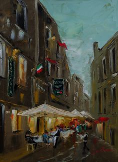 Trattoria, Italy. Palette Knife Oil Painting on canvas. 60x81cms. Author: Daniel Rivero Serradell