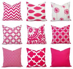 Throw Pillow Cover - Hot Pink and White Pillow - Decorative Throw Pillow - Candy…