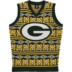 Men's Green Bay Packers NFL Klew Green Ugly Sweater Vest
