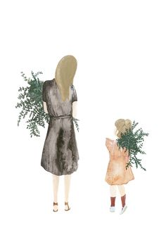Beautiful illustration by Dutch artist Saar Manche, printed on high quality textured paper. Mother and Daughter is part of a series of four limited edition prin Illustration Photo, Family Illustration, Graphic Design Illustration, Watercolor Illustration, Watercolor Art, Mother And Daughter Drawing, Dutch Artists, Limited Edition Prints, Mom Style