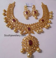 Uncut Ruby Pachi Diamong Necklace