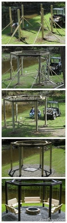 Easy to follow instructions for this awesome swing set - #DIYGardenIdeas
