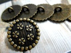 Set 10 Brass Tone Decorative Border ButtonsWith Floret by Lyanwood, $5.00