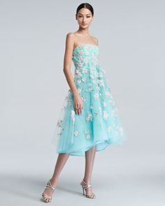 Floral-Embroidered Tulle Cocktail Dress by Oscar de la Renta at Neiman Marcus.