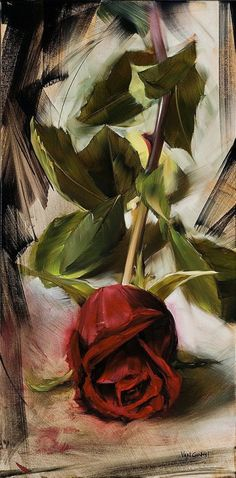"""art-and-dream: """" Art painting still life rose red by Paul van Ginkel """""""