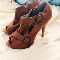 Charlotte Russe Booties/Pumps Never worn // brown faux leather feel // size 10 // 4.5 inch heel // side zipper // side buckle accents Charlotte Russe Shoes Heels