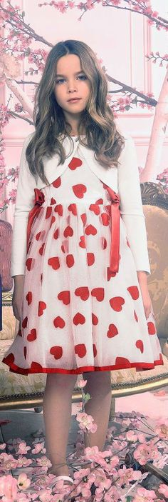 032577fcf1e1 Love this MONNALISA CHIC Girls Red or Blue Hearts Dress for Spring Summer  2018. Gorgeous