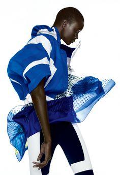 Issey Miyake royal blue and white cropped jacket