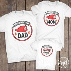 Matching Firefighter Family Shirts Set Includes: 1. Firefighter Dad 2. Firefighter Mom 3. Personalized Firefighter Birthday Shirt ►HOW TO ORDER 1. Please include the sizes of each tshirt in the note to seller at check-out. Adult tshirts are available in unisex and womens cut. (Womens