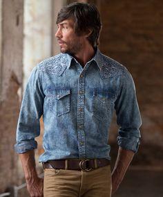 Men's Ryan Michael Embroidered Indigo Shirt at Maverick Western Wear