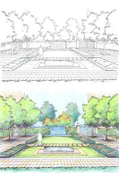 villa courtyard and garden design with modern lawn and water feature pen and colour pencil