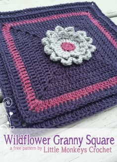 Crochet - Wildflower Granny Square No.2 - Free pattern - Downloaded and printed ✿⊱╮Teresa Restegui http://www.pinterest.com/teretegui/✿⊱╮