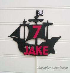 pirate ship cake topper pirate birthday от thesinginghoneybee