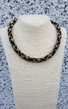 Black Necklace - Bead crochet Necklace - Women Jewellery - Collar - Seed bead Rope - Beaded Gold Necklace - Gift for her - Women accessory Crochet Necklace, Beaded Necklace, Jewelry Gifts, Jewellery, Bead Crochet Rope, Black Necklace, Necklace Lengths, Women Accessories, Gifts For Her