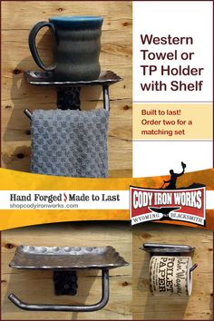 Hand forged home decor by Wyoming Blacksmith NJ Pawley by CodyIronWorks Western Bathroom Decor, Western Bathrooms, Westerns, Towel Holder Bathroom, Shelf Holders, Western Homes, Metal Projects, Decorating Coffee Tables, Fixation