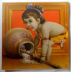 India Vintage Calendar Print Hindu God Bal Krishna with Butter #gngp165