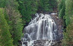 Download wallpapers waterfall, rock, forest, green trees, high waterfall, mountain landscape