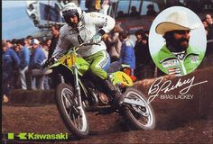 1980- Brad Lackey Kawasaki Poster  No need for goggles when you're out in front..