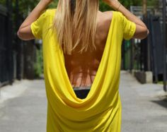 Sexy Casual Cotton Tunic, Backless Tunic Top, Ovesized Yellow Tunic, Plus Size Maxi Blouse By SSDfashion