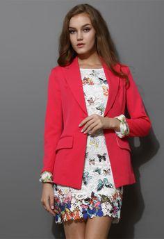 Hot Pink Contrast Cuff One Button Blazer