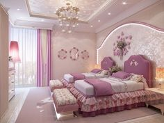 Children's design in a pink palette - Luxury Antonovich Design House Ceiling Design, Bedroom False Ceiling Design, Room Design Bedroom, Girl Bedroom Designs, Room Ideas Bedroom, Kids Room Design, Home Room Design, Home Bedroom, Modern Master Bedroom