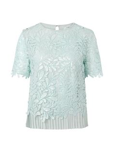 About:Short sleeved round neck lace top. Top is fully lined and features accordion pleats at hem line. Button at back of neck. Sizing:True to size Care: Hand wa Top Top, Envy, Hemline, Suitcase, Essentials, Colour, Button, Lace, Tops