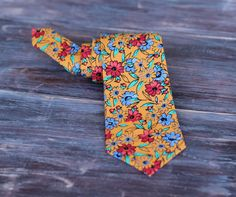 Mens Orange Floral Cotton Necktie, traditional self tying necktie for men and teens - pinned by pin4etsy.com