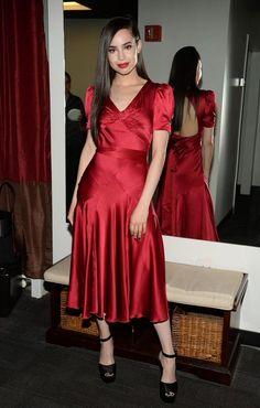 Sofia Carson in Tommy Hilfiger Satin Dresses, Silk Dress, Dress Up, Modest Fashion, Girl Fashion, Sophia Carson, New York Studio, Fashion Tights, Famous Women
