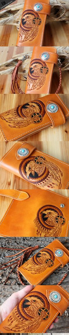 Handmade leather eagle carved brown biker wallet chain Long wallet clu | EverHandmade