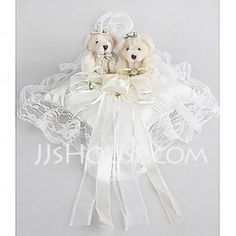 Wedding Ring Pillow In White Satin With Lovely Bear And Laces(103018235)