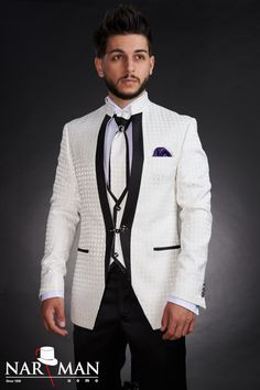 1 new message Mandarin Collar, Wedding Suits, Costumes, Tuxedo, Mens Suits, Suit Jacket, Menswear, Mens Fashion, Blazer