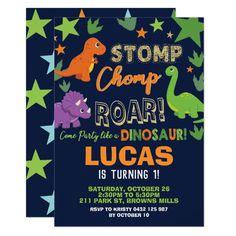 Dinosaur 1st Birthday Party Boy Stomp Chomp Roar Invitation Dinosaur First Birthday, Dinosaur Party, 1st Boy Birthday, Boy Birthday Parties, Birthday Ideas, Elmo Party, Mickey Party, Cat Party, Theme Parties