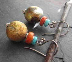 Artisan Jewlery, Turquoise, Coral, Raku Bead Dangle Earrings, Sundance Style. $28.00, via Etsy.