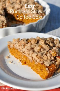 A slice of this TWO INGREDIENT Easy Pumpkin Streusel Coffee Cake pairs perfectly with a cup of coffee on a lazy fall morning! The moist, cake is topped with a buttery streusel that melts in your mouth!