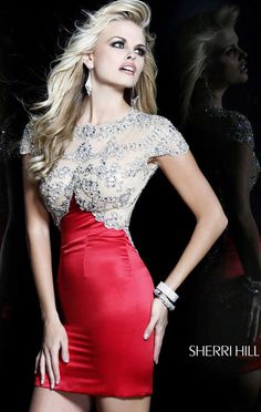2014 Open-Back Sherri Hill 21222 Nude/Red Cocktail Dress - $177.00 : 2014 Prom Dresses Online Sale,Cheap Sherri Hill Dresses