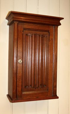 Antique Wall Cabinet French Solid Oak Single Door With Linenfold Panel Circa 1920