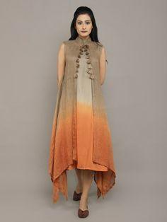 Grey Brown Orange Linen Dress with Jacket - Set of 2 Pakistani Dresses, Indian Dresses, Indian Outfits, Stylish Dresses, Casual Dresses, Fashion Dresses, Kurta Designs Women, Blouse Designs, Mode Abaya