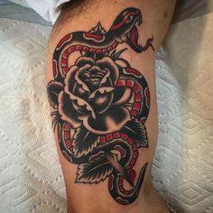 """thinktanktattoo on Instagram: """"#snake and #rose by @mattscanlan  #boldwillhold #thinktanktattoo #denver #tradworkers"""""""