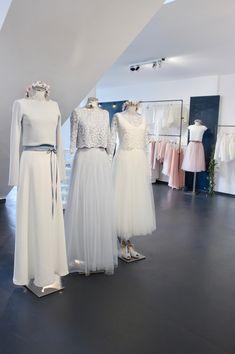 Moderne Brautkleider, Zweiteiler mit Tüllrock und Braut Top, Spitzentops und Pullover.