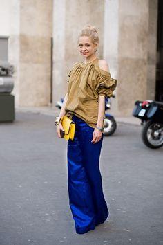 What a wonderful long blue shiny skirt