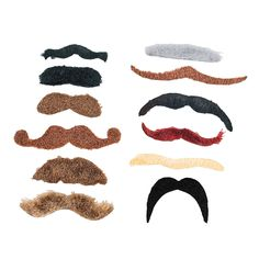 6 Piece Fake Mustache Variety Adhesive Prop Photobooth Costume Accesory LOT