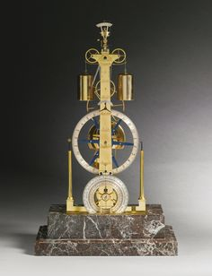 George Daniels BREGUET ET FILS NO.3225. A REPLICA WEIGHT-DRIVEN THREE WHEEL SKELETON TIMEPIECE WITH EQUATION AND ANNUAL CALENDAR, LONDON, CIRCA 1968.